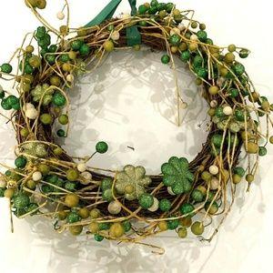 Other - Shamrock Grapevine Green Ball Wreath Ribbon Hanger